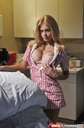Big-tit nurse Riley Steele undresses and plays with her body
