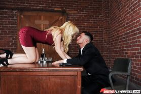 Blonde secretary Samantha Rone seducing her boss on his office desk
