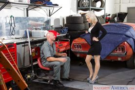 Blonde secretary Kleio Valentien gives the mechanic with the big dick a bj