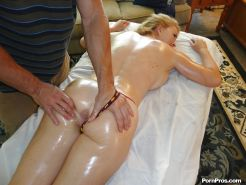 Busty blonde Krissy Lynn receives a massage and a cock in her pussy