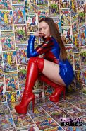 French solo girl Elouise Please unleashing big breasts from cosplay outfit