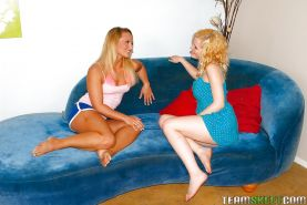 Tanned blondie has some lesbian fun with her pale skin step sister