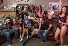 Reverse gangbang with Eva Notty, Jada Stevens, Nikki Benz and Romi Rain
