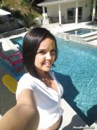 Brunette girlfriend Dillion Harper is doing self shots while undressing