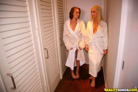 Heated lesbian girls receive extra service in the massage parlor