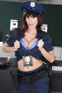 Hot bombshell in police uniform Gia Dimarco stripping and toying her asshole