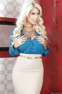Top rated blonde babe Bridgette B posing non nude in short skirt