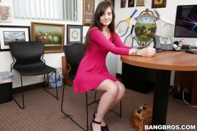 New photos of brunette cutie Gia Paige spreading her tight slit