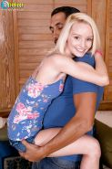 Young blonde spinner Sammy Daniels riding large cock in bare feet