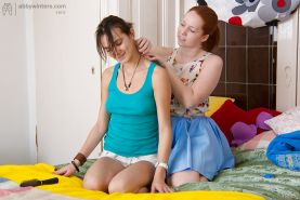 First time lesbians Bisera and Candice engaging in 69 sex action