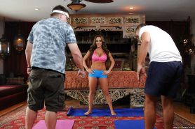 Lewd sport coach with gorgeous curves gets banged and facialized by her client