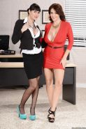 Office lesbians Charlee Chase and Eva Karera showing their melons