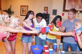 Teen babes Jasmine and Reena fucking at a party with cum swapping