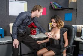 Milf Danica Dillon is fucking in her office in her trimmed pussy