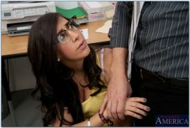 Naughty coed Valerie Kay sucks and fucks her teacher's fat cock