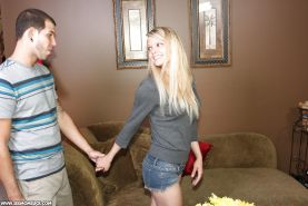 Lascivious mature blonde with petite ass showing off her blowjob skills