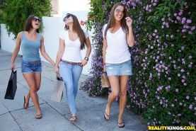Adorable young babe Dani Daniels is into tremendous lesbian threesome