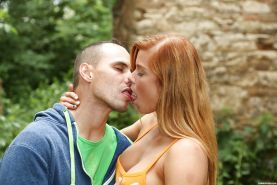 Redhead Euro teen Chrissy Fox taking cum in mouth after exposing big tits