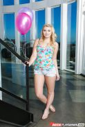 Lascivious blonde with small breasts Melissa May fondles her wet cave
