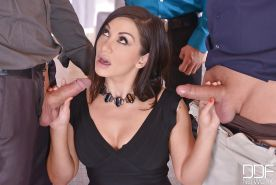 Brunette Euro chick Lea Lexis giving CFNM blowjobs to large cocks
