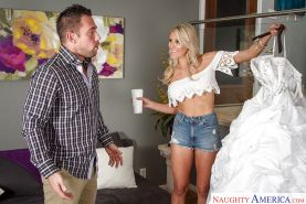 Big-tit blonde bride Audrey Show fucks with her hardcore lover