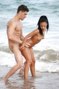 Brunette beach bunny with tiny tits riding big cock to cumshot outdoors #53112241