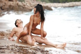Brunette beach bunny with tiny tits riding big cock to cumshot outdoors #53112377
