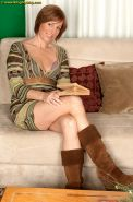 Sexy mature amateur in sheer panties & boots showing small tits & long legs