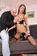 Spicy milf with natural boobies Angel Dark is sucking this tasty cock