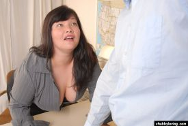 Obese brunette Olivia strips naked to give titjob and blowjob in office