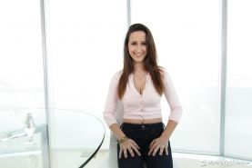 Beautiful amateur babe Ashley Adams posing fully clothed in jeans