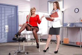 Lesbian nurse Dani Daniels seduces blonde chick Phoenix Marie for sex