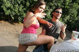 Big titted babe Claire Dames is into hardcore butt fucking outdoor