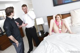 Krissy Lynn has a groupsex with two lads and enjoys double penetration