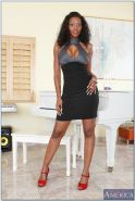 African wife Nyomi Banxxx rubbing moist clit and brown nipples