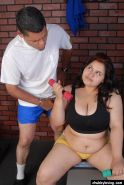 Fat girl Karla working out in sports clothes and taking cumshot on big tits