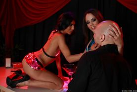 Playful babes Lou Charmelle and Kristina Rose have hot anal groupsex