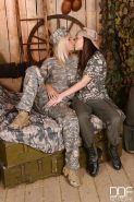 European lesbians Subil Arch and Tracy Gold fucking in army uniform