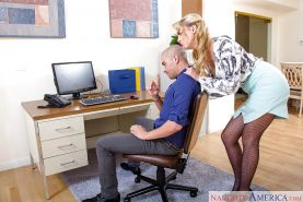 Blonde secretary Keira Nicole spreads fishnet stocking clad legs for oral