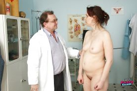Mature gal at the Gyno spreading her hairy cunt for poking & prodding