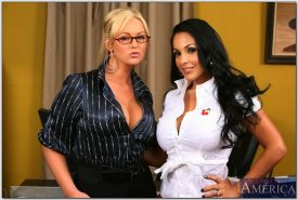 Two sexy hotties Abbey Brooks and Nina Mercedez stripping and posing