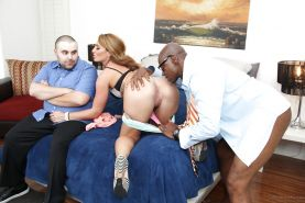Naughty housewife Savannah Fox takes the BBC while cuckold husband watches