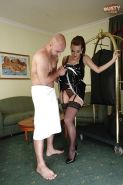 Amateur maid Cindy Dollar greets motel guest in stockings and uniform