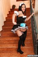 Sexy european maid Honey Demon gets rid of her uniform and panties