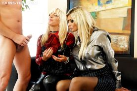 Kinky fully clothed blondes getting pissed on and fucked hardcore