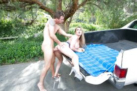 Outdoor fucking on the hood of a car for the sexy Corinna Blake