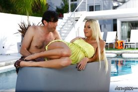 Seductive blonde with big tits Riley Evans gets nailed by the pool