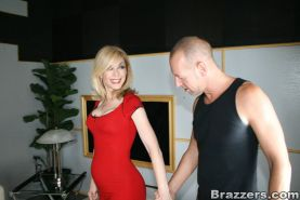 Mature blonde Nina Hartley got her pantyhose torn for hot banging