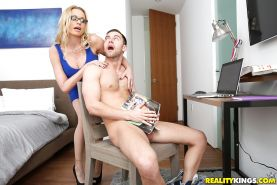 Big boobed blonde MILF Briana Banks sucking off long cock in glasses