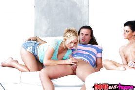 Wild threesome sex action with MILF India Summer and teen Kate England